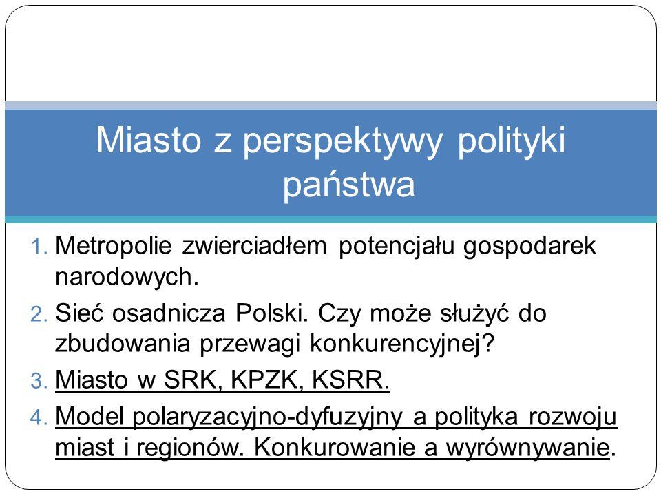 1. Metropolie zwierciadłem potencjału gospodarek narodowych. 2. Sieć osadnicza Polski. Czy może służyć do zbudowania przewagi konkurencyjnej? 3. Miast