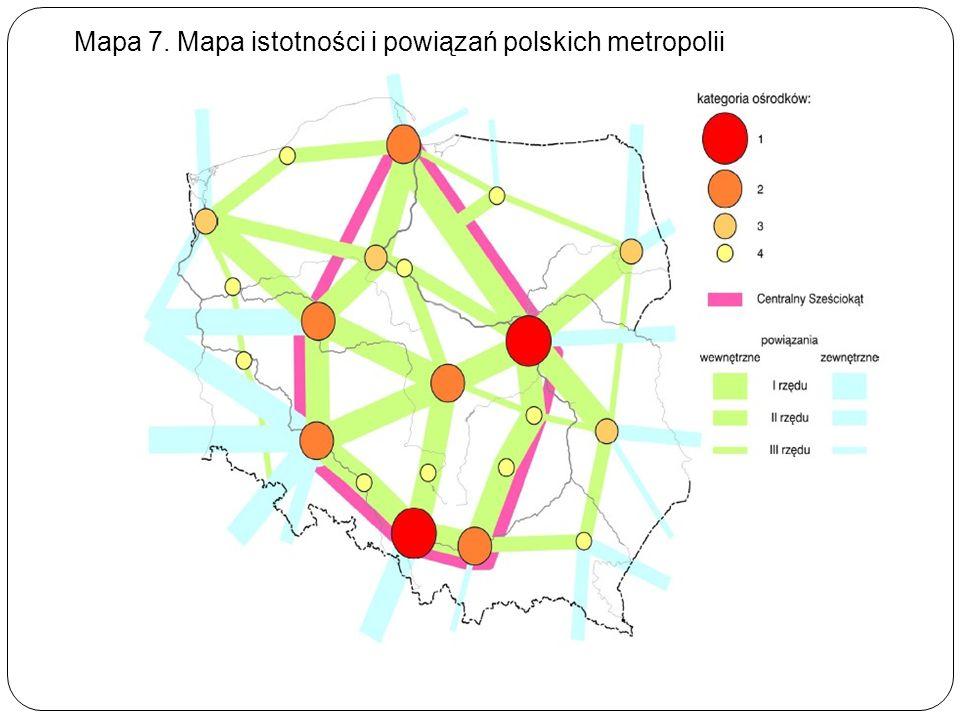 Mapa 7. Mapa istotności i powiązań polskich metropolii