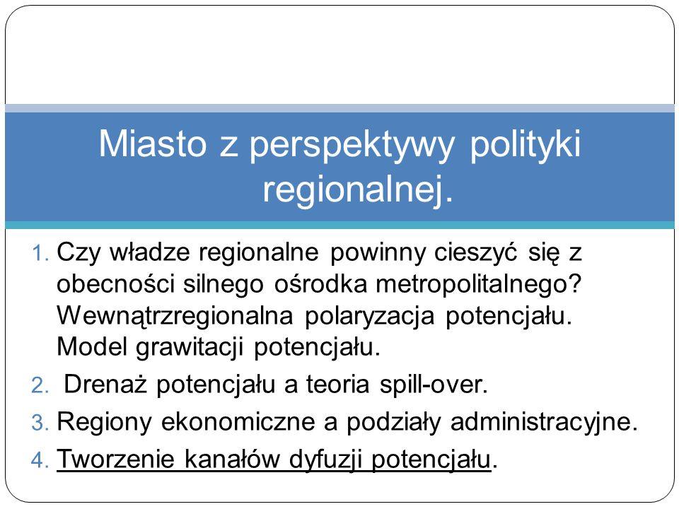 1. Czy władze regionalne powinny cieszyć się z obecności silnego ośrodka metropolitalnego? Wewnątrzregionalna polaryzacja potencjału. Model grawitacji