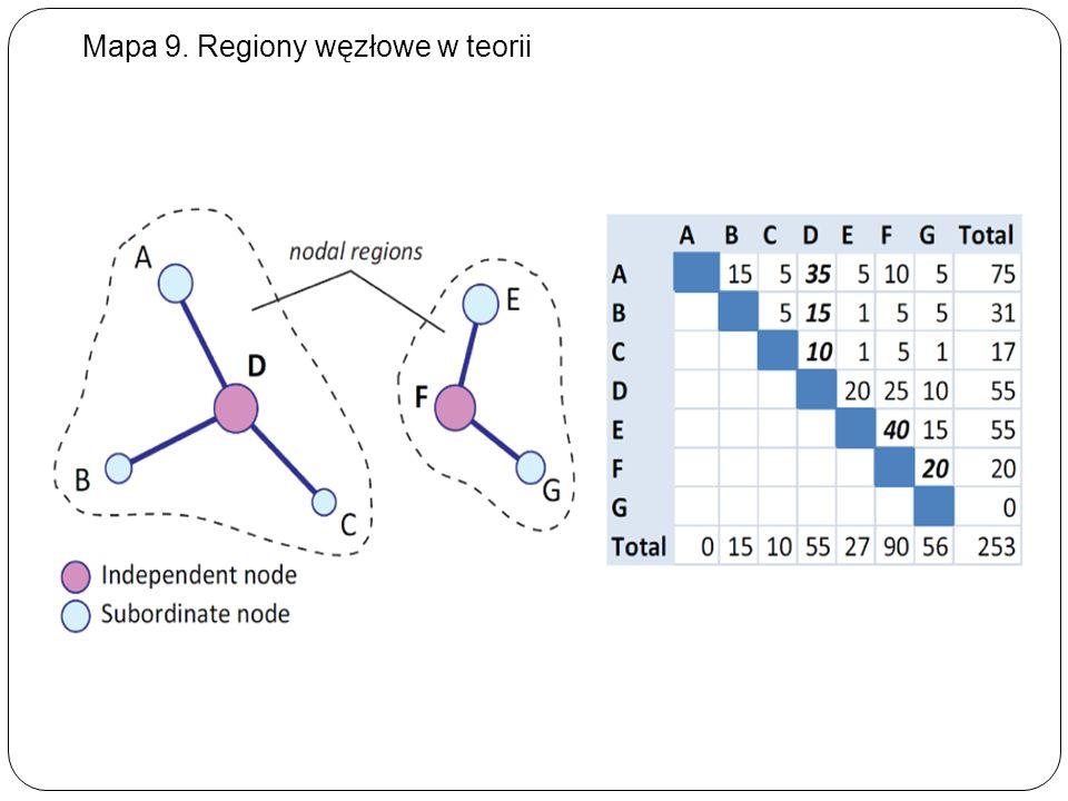 Mapa 9. Regiony węzłowe w teorii