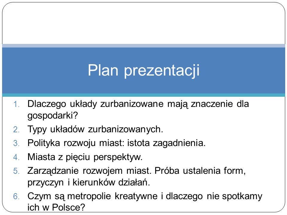 1. Dlaczego układy zurbanizowane mają znaczenie dla gospodarki? 2. Typy układów zurbanizowanych. 3. Polityka rozwoju miast: istota zagadnienia. 4. Mia