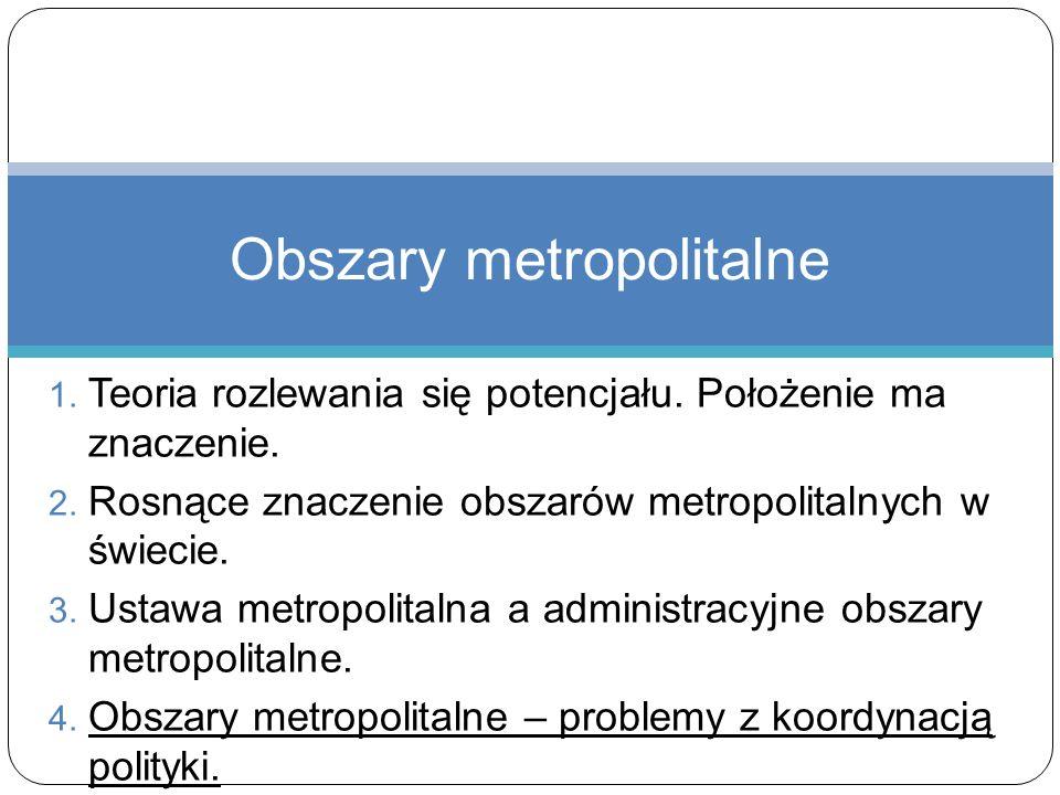 1. Teoria rozlewania się potencjału. Położenie ma znaczenie. 2. Rosnące znaczenie obszarów metropolitalnych w świecie. 3. Ustawa metropolitalna a admi
