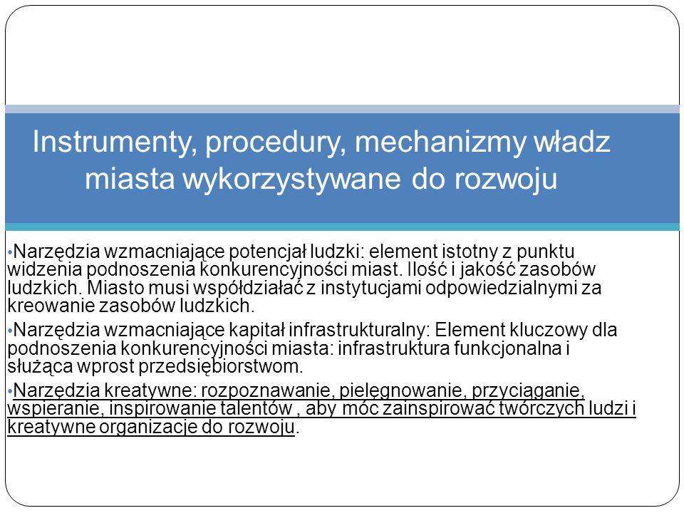 Instrumenty, procedury, mechanizmy władz miasta wykorzystywane do rozwoju Narzędzia wzmacniające potencjał ludzki: element istotny z punktu widzenia p