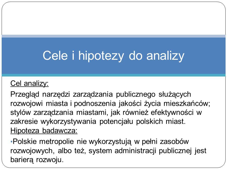 Cel analizy: Przegląd narzędzi zarządzania publicznego służących rozwojowi miasta i podnoszenia jakości życia mieszkańców; stylów zarządzania miastami