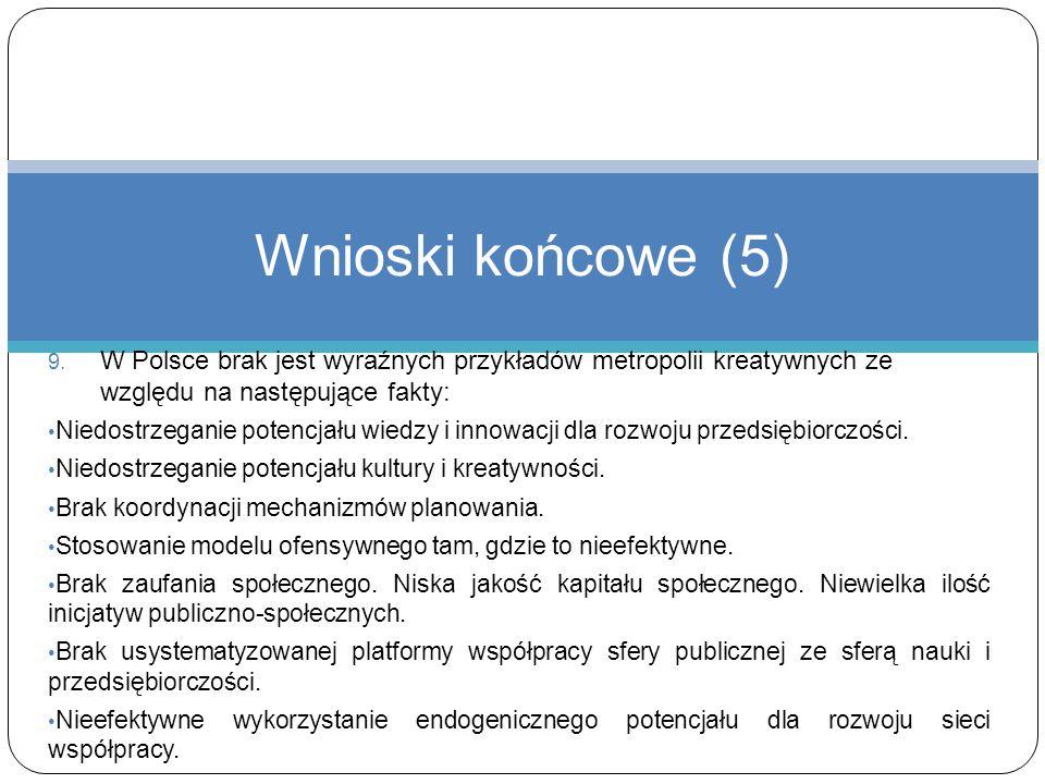 9. W Polsce brak jest wyraźnych przykładów metropolii kreatywnych ze względu na następujące fakty: Niedostrzeganie potencjału wiedzy i innowacji dla r