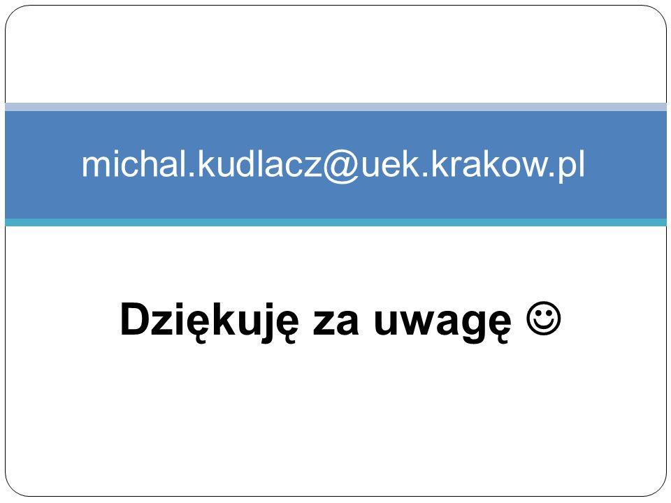 Dziękuję za uwagę michal.kudlacz@uek.krakow.pl