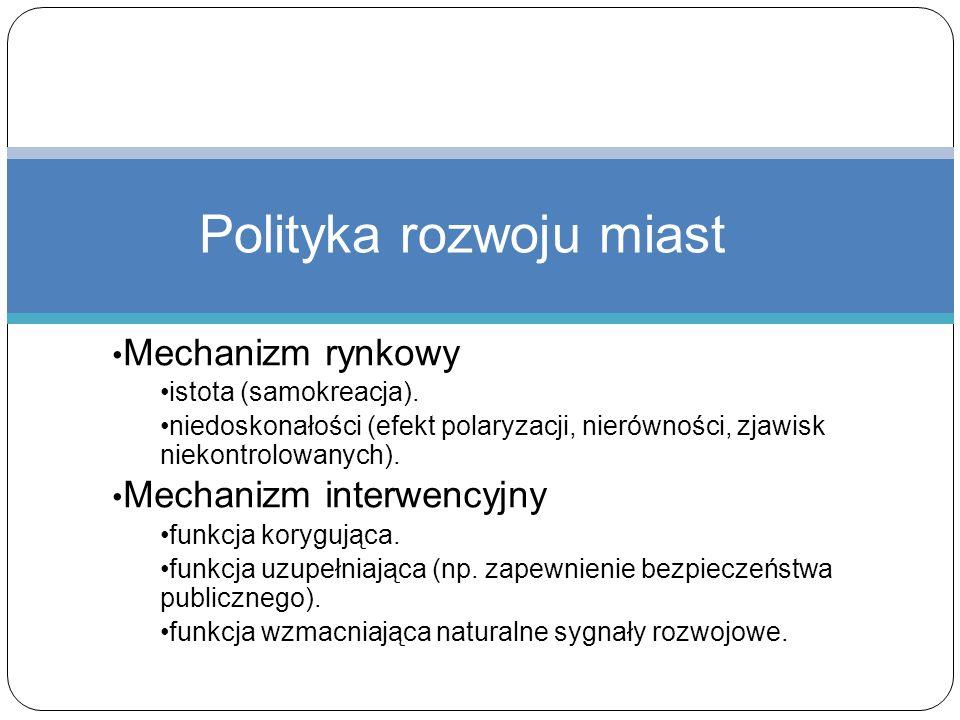 Mechanizm rynkowy istota (samokreacja). niedoskonałości (efekt polaryzacji, nierówności, zjawisk niekontrolowanych). Mechanizm interwencyjny funkcja k