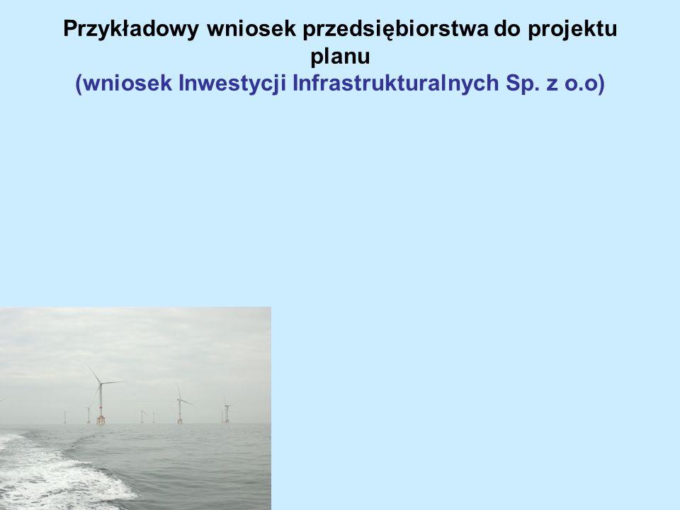 Przykładowy wniosek przedsiębiorstwa do projektu planu (wniosek Inwestycji Infrastrukturalnych Sp. z o.o)