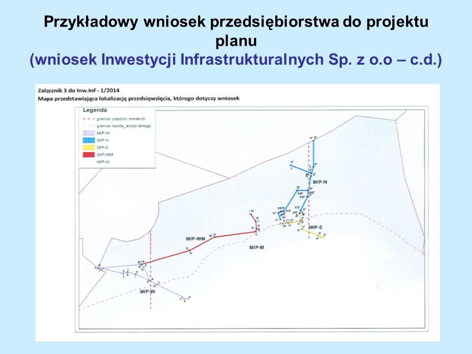 Przykładowy wniosek przedsiębiorstwa do projektu planu (wniosek Inwestycji Infrastrukturalnych Sp. z o.o – c.d.)