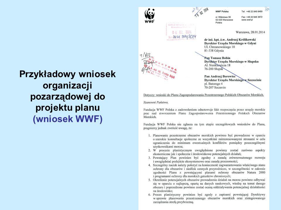 Przykładowy wniosek organizacji pozarządowej do projektu planu (wniosek WWF)