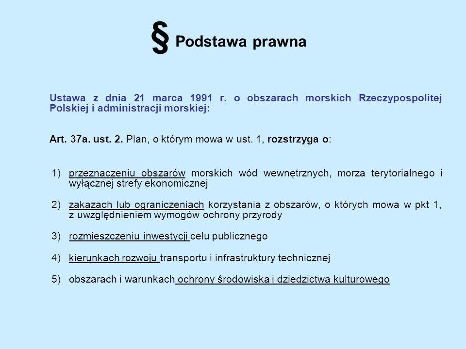 § Podstawa prawna Ustawa z dnia 21 marca 1991 r. o obszarach morskich Rzeczypospolitej Polskiej i administracji morskiej: Art. 37a. ust. 2. Plan, o kt