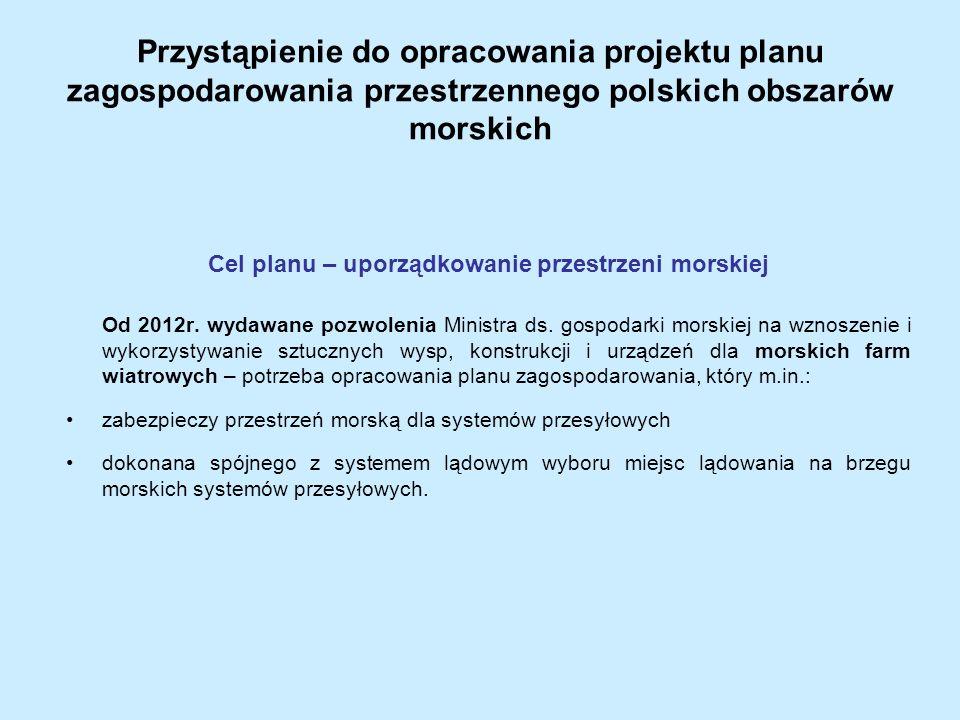 Przystąpienie do opracowania projektu planu zagospodarowania przestrzennego polskich obszarów morskich Cel planu – uporządkowanie przestrzeni morskiej