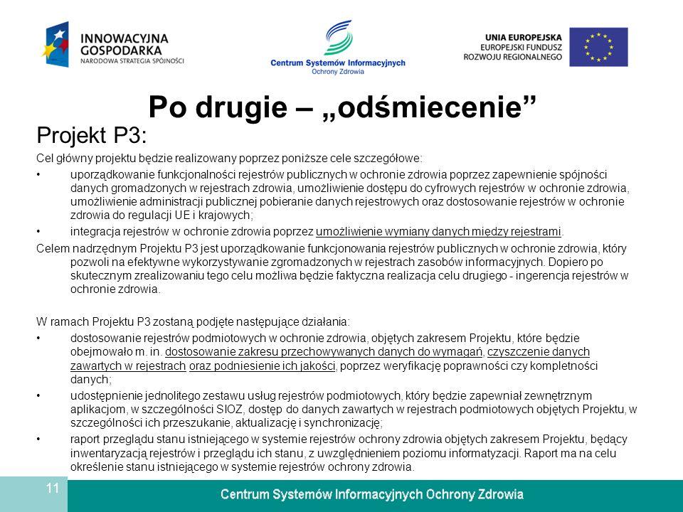 11 Po drugie – odśmiecenie Projekt P3: Cel główny projektu będzie realizowany poprzez poniższe cele szczegółowe: uporządkowanie funkcjonalności rejest