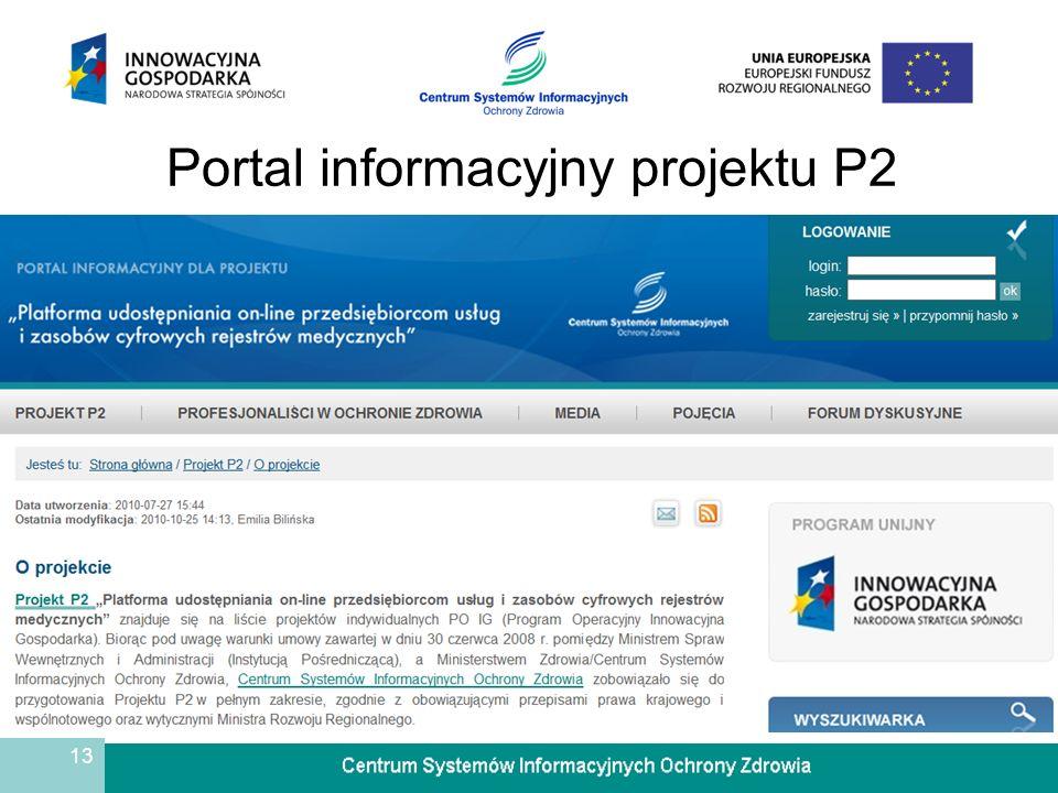 13 Portal informacyjny projektu P2