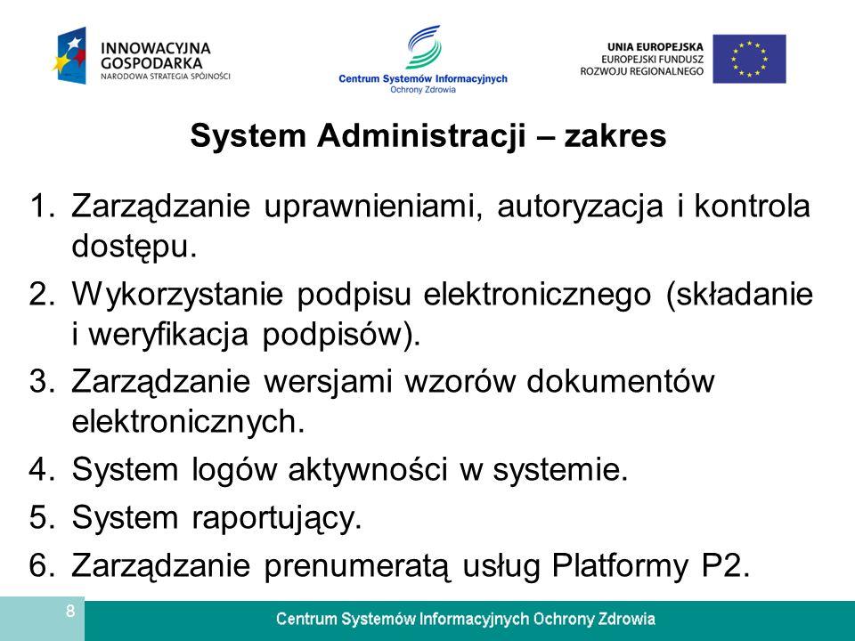 8 System Administracji – zakres 1.Zarządzanie uprawnieniami, autoryzacja i kontrola dostępu. 2.Wykorzystanie podpisu elektronicznego (składanie i wery