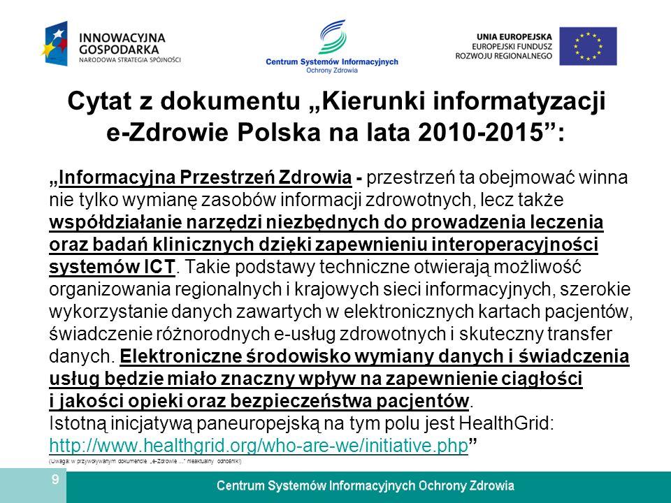 9 Cytat z dokumentu Kierunki informatyzacji e-Zdrowie Polska na lata 2010-2015: Informacyjna Przestrzeń Zdrowia - przestrzeń ta obejmować winna nie ty