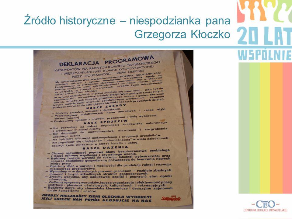 Źródło historyczne – niespodzianka pana Grzegorza Kłoczko