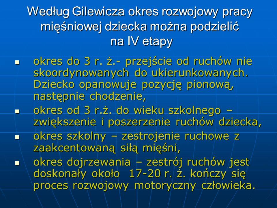 Według Gilewicza okres rozwojowy pracy mięśniowej dziecka można podzielić na IV etapy okres do 3 r. ż.- przejście od ruchów nie skoordynowanych do uki