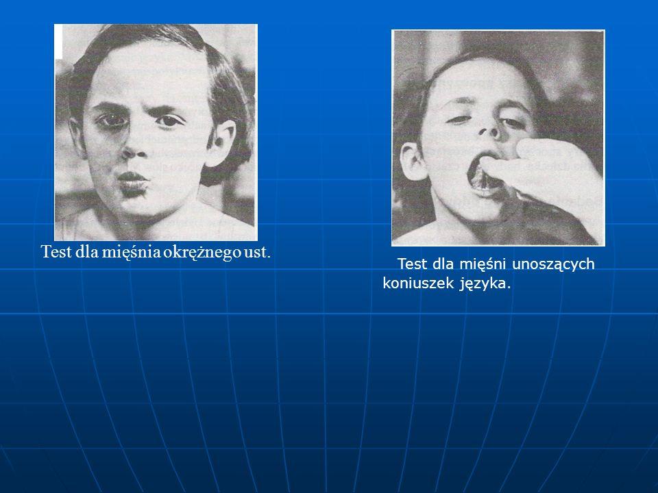 Test dla mięśnia okrężnego ust. Test dla mięśni unoszących koniuszek języka.