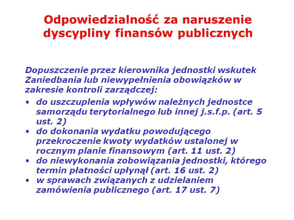 Odpowiedzialność za naruszenie dyscypliny finansów publicznych Dopuszczenie przez kierownika jednostki wskutek Zaniedbania lub niewypełnienia obowiązk