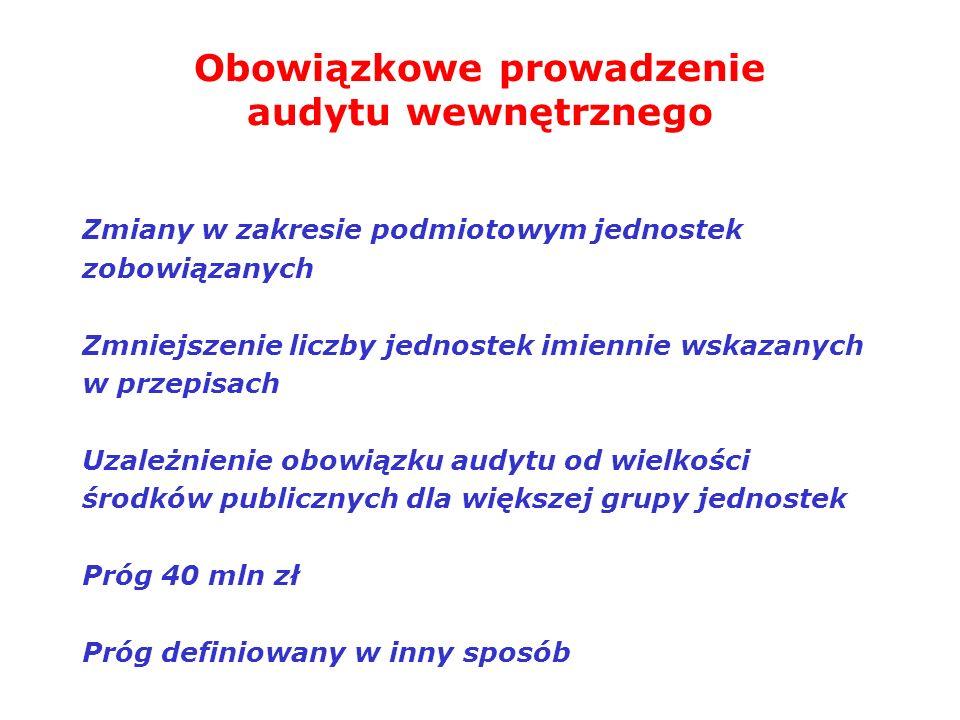 Obowiązkowe prowadzenie audytu wewnętrznego Zmiany w zakresie podmiotowym jednostek zobowiązanych Zmniejszenie liczby jednostek imiennie wskazanych w