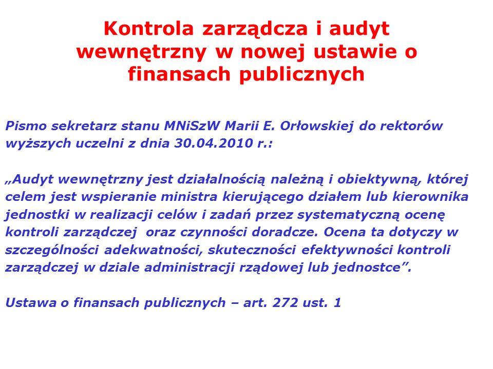 Kontrola zarządcza i audyt wewnętrzny w nowej ustawie o finansach publicznych Pismo sekretarz stanu MNiSzW Marii E. Orłowskiej do rektorów wyższych uc