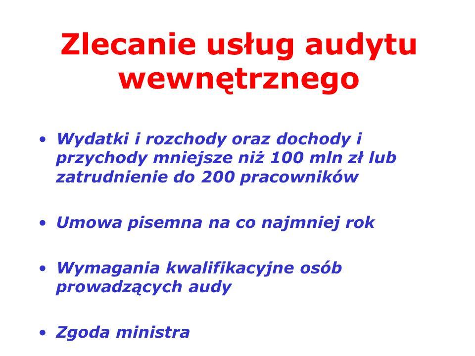 Zlecanie usług audytu wewnętrznego Wydatki i rozchody oraz dochody i przychody mniejsze niż 100 mln zł lub zatrudnienie do 200 pracowników Umowa pisem