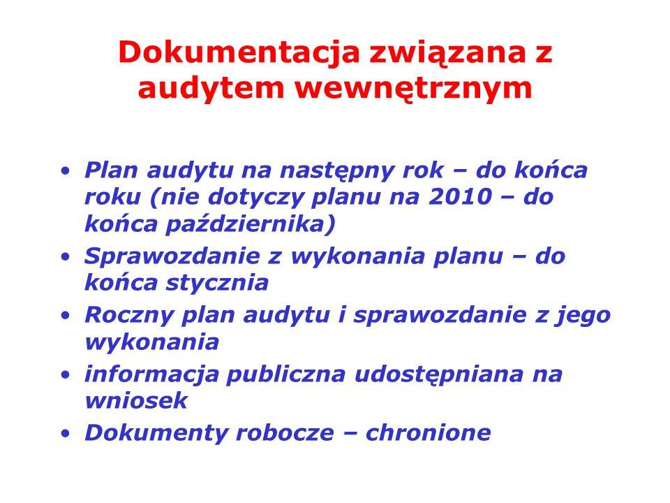 Dokumentacja związana z audytem wewnętrznym Plan audytu na następny rok – do końca roku (nie dotyczy planu na 2010 – do końca października) Sprawozdan