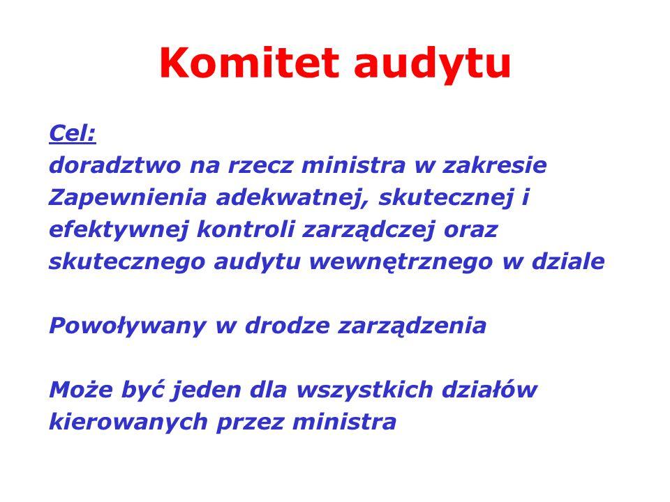 Komitet audytu Cel: doradztwo na rzecz ministra w zakresie Zapewnienia adekwatnej, skutecznej i efektywnej kontroli zarządczej oraz skutecznego audytu