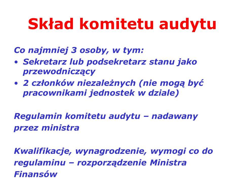Skład komitetu audytu Co najmniej 3 osoby, w tym: Sekretarz lub podsekretarz stanu jako przewodniczący 2 członków niezależnych (nie mogą być pracownik