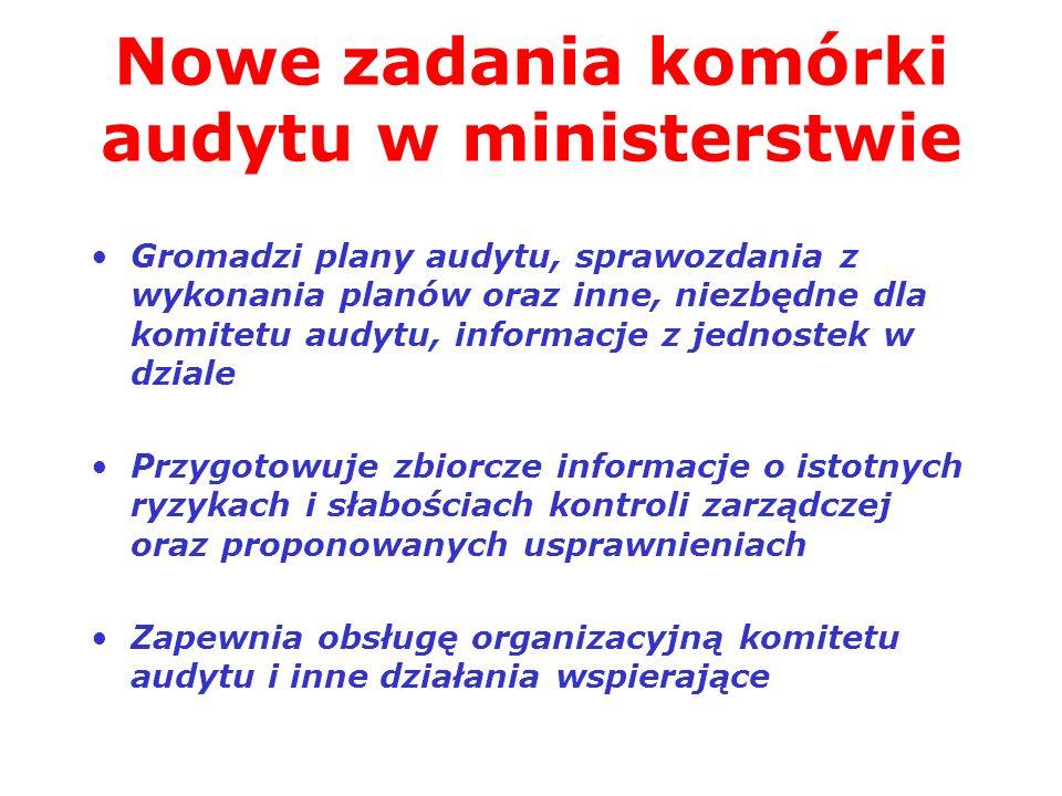 Nowe zadania komórki audytu w ministerstwie Gromadzi plany audytu, sprawozdania z wykonania planów oraz inne, niezbędne dla komitetu audytu, informacj
