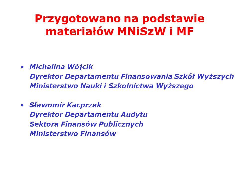 Przygotowano na podstawie materiałów MNiSzW i MF Michalina Wójcik Dyrektor Departamentu Finansowania Szkół Wyższych Ministerstwo Nauki i Szkolnictwa W