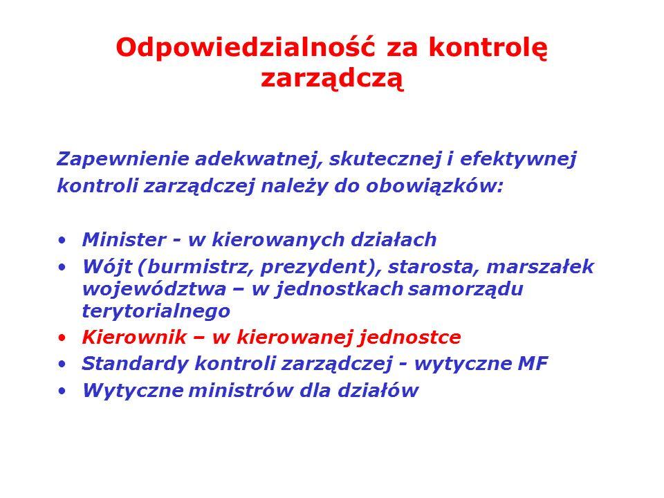 Odpowiedzialność za kontrolę zarządczą Zapewnienie adekwatnej, skutecznej i efektywnej kontroli zarządczej należy do obowiązków: Minister - w kierowan