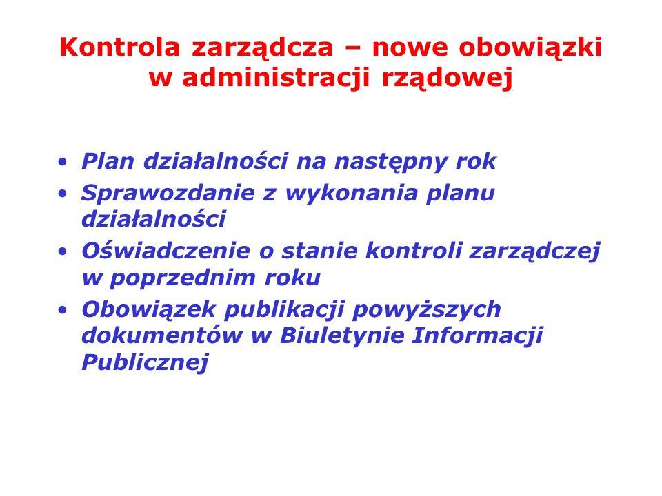 Kontrola zarządcza – nowe obowiązki w administracji rządowej Plan działalności na następny rok Sprawozdanie z wykonania planu działalności Oświadczeni