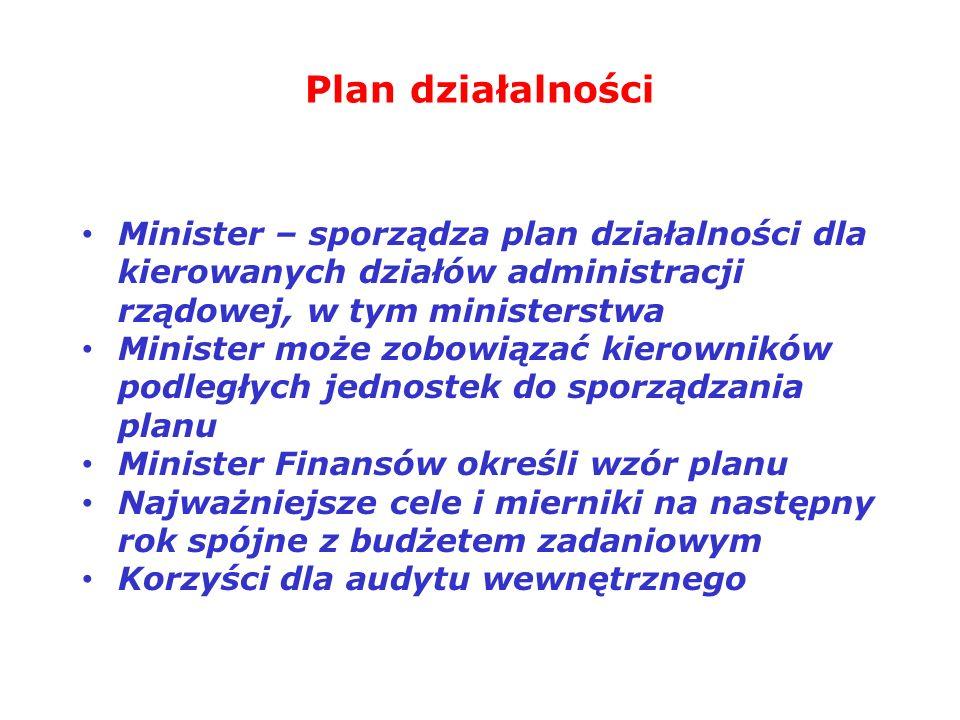 Plan działalności Minister – sporządza plan działalności dla kierowanych działów administracji rządowej, w tym ministerstwa Minister może zobowiązać k