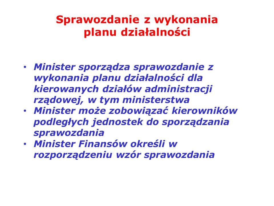Sprawozdanie z wykonania planu działalności Minister sporządza sprawozdanie z wykonania planu działalności dla kierowanych działów administracji rządo