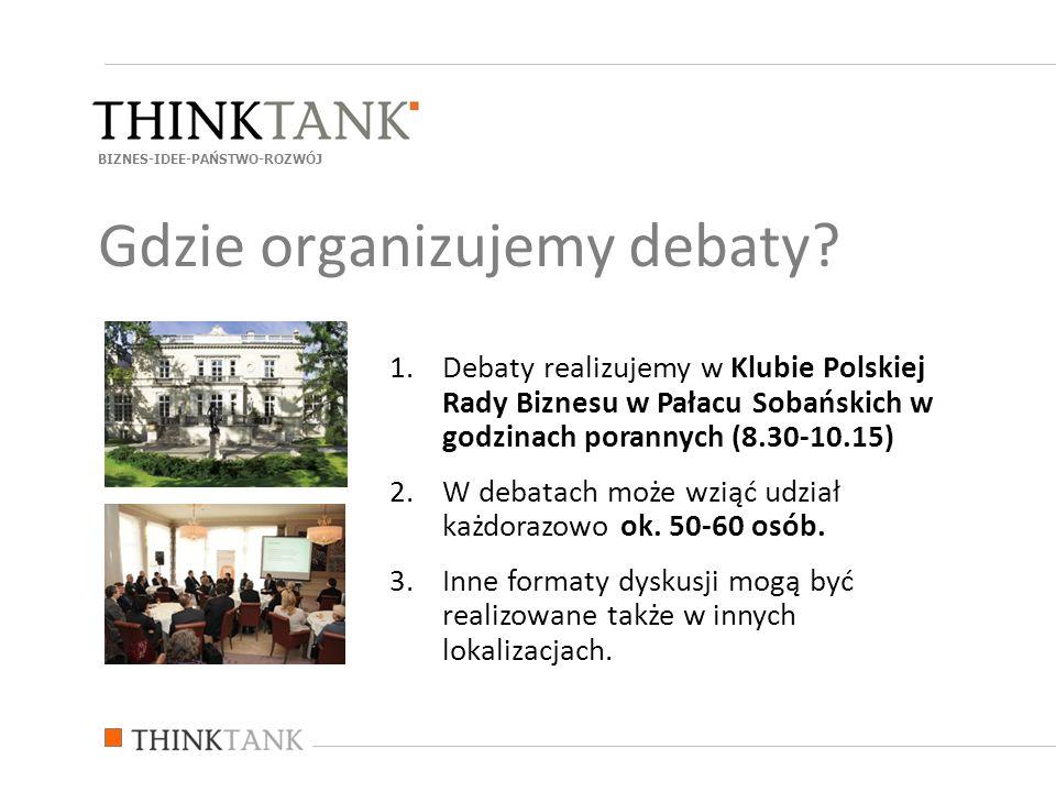 1.Debaty realizujemy w Klubie Polskiej Rady Biznesu w Pałacu Sobańskich w godzinach porannych (8.30-10.15) 2.W debatach może wziąć udział każdorazowo