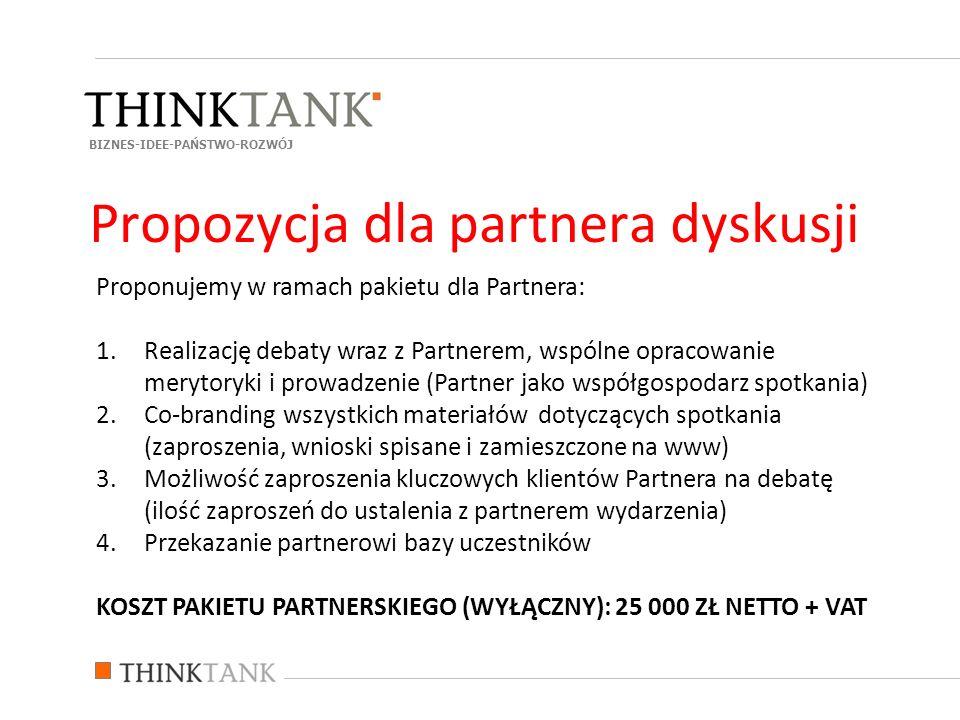 Proponujemy w ramach pakietu dla Partnera: 1.Realizację debaty wraz z Partnerem, wspólne opracowanie merytoryki i prowadzenie (Partner jako współgospo