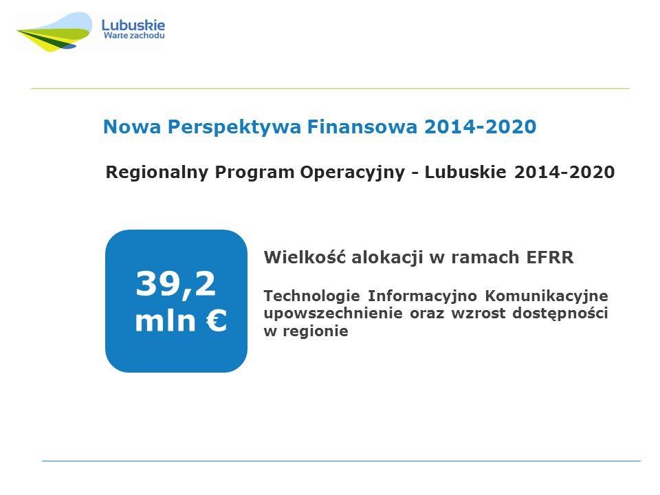 Projekty współfinansowane z Lubuskiego Regionalnego Programu Operacyjnego na lata 2007-2013 Nowa Perspektywa Finansowa 2014-2020 Regionalny Program Operacyjny - Lubuskie 2014-2020 Wielkość alokacji w ramach EFRR Technologie Informacyjno Komunikacyjne upowszechnienie oraz wzrost dostępności w regionie 39,2 mln