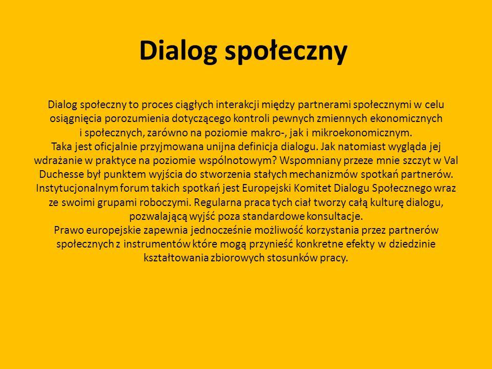 Dialog społeczny Dialog społeczny to proces ciągłych interakcji między partnerami społecznymi w celu osiągnięcia porozumienia dotyczącego kontroli pew