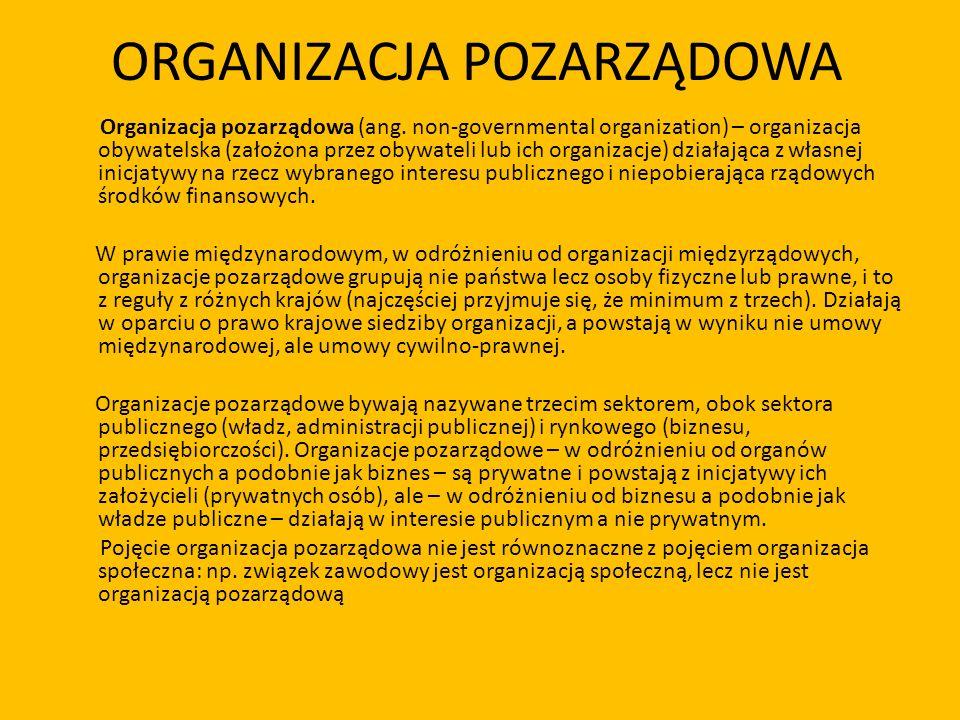 ORGANIZACJA POZARZĄDOWA Organizacja pozarządowa (ang. non-governmental organization) – organizacja obywatelska (założona przez obywateli lub ich organ