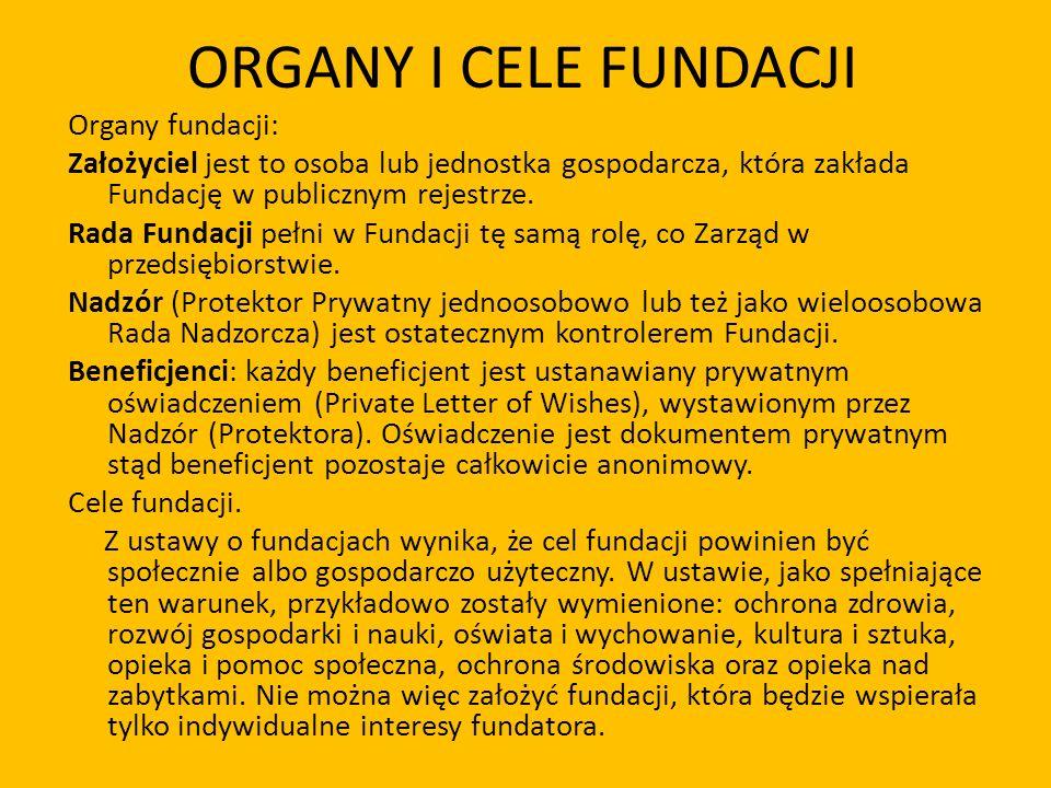 ORGANY I CELE FUNDACJI Organy fundacji: Założyciel jest to osoba lub jednostka gospodarcza, która zakłada Fundację w publicznym rejestrze. Rada Fundac