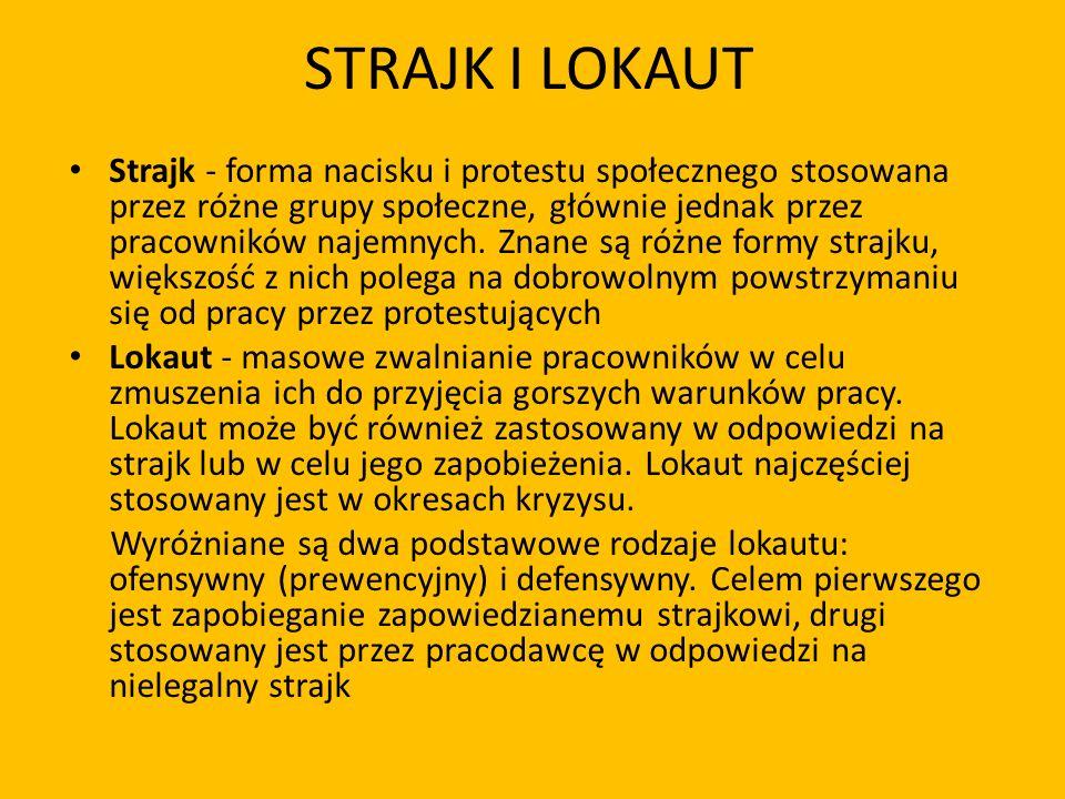STRAJK I LOKAUT Strajk - forma nacisku i protestu społecznego stosowana przez różne grupy społeczne, głównie jednak przez pracowników najemnych. Znane