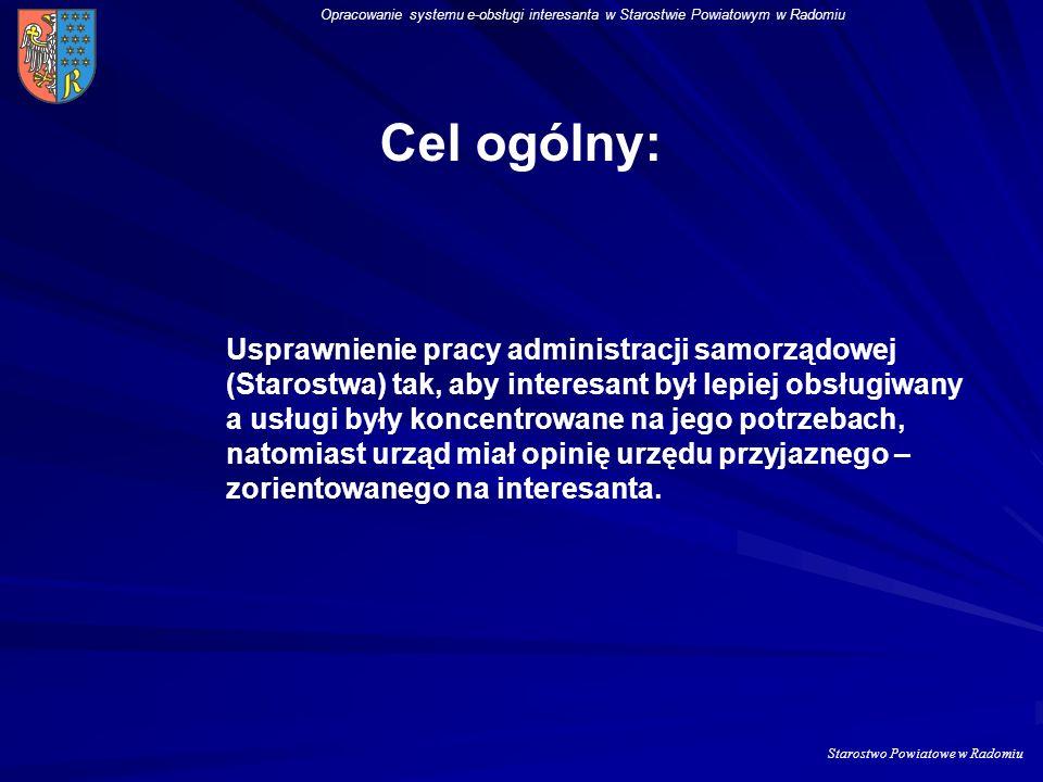 Starostwo Powiatowe w Radomiu Opracowanie systemu e-obsługi interesanta w Starostwie Powiatowym w Radomiu Poprzez realizacje projektu chcemy rozwiązać