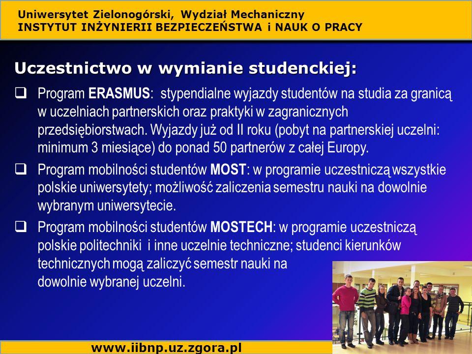 Uczestnictwo w wymianie studenckiej: Program ERASMUS : stypendialne wyjazdy studentów na studia za granicą w uczelniach partnerskich oraz praktyki w zagranicznych przedsiębiorstwach.