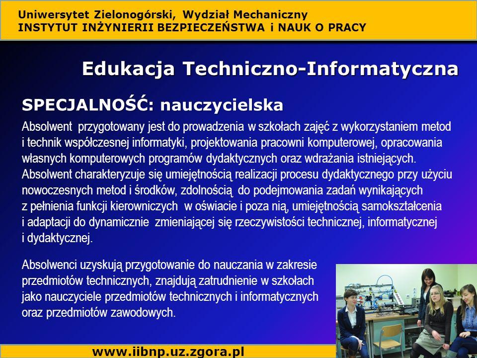 Absolwent przygotowany jest do prowadzenia w szkołach zajęć z wykorzystaniem metod i technik współczesnej informatyki, projektowania pracowni komputer