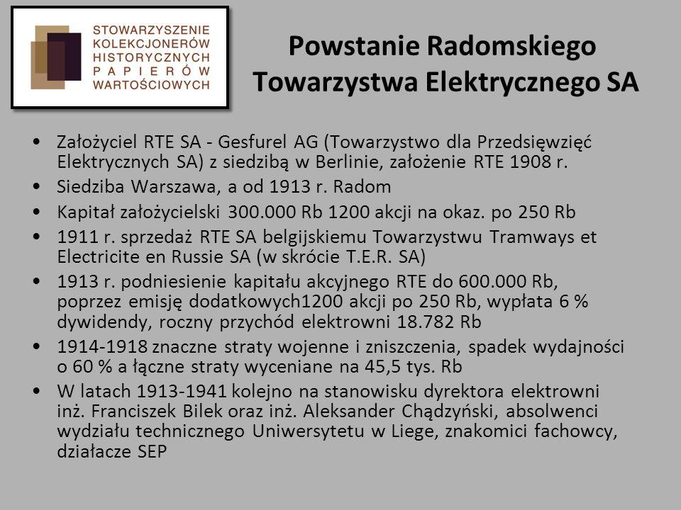 Powstanie Radomskiego Towarzystwa Elektrycznego SA Założyciel RTE SA - Gesfurel AG (Towarzystwo dla Przedsięwzięć Elektrycznych SA) z siedzibą w Berli