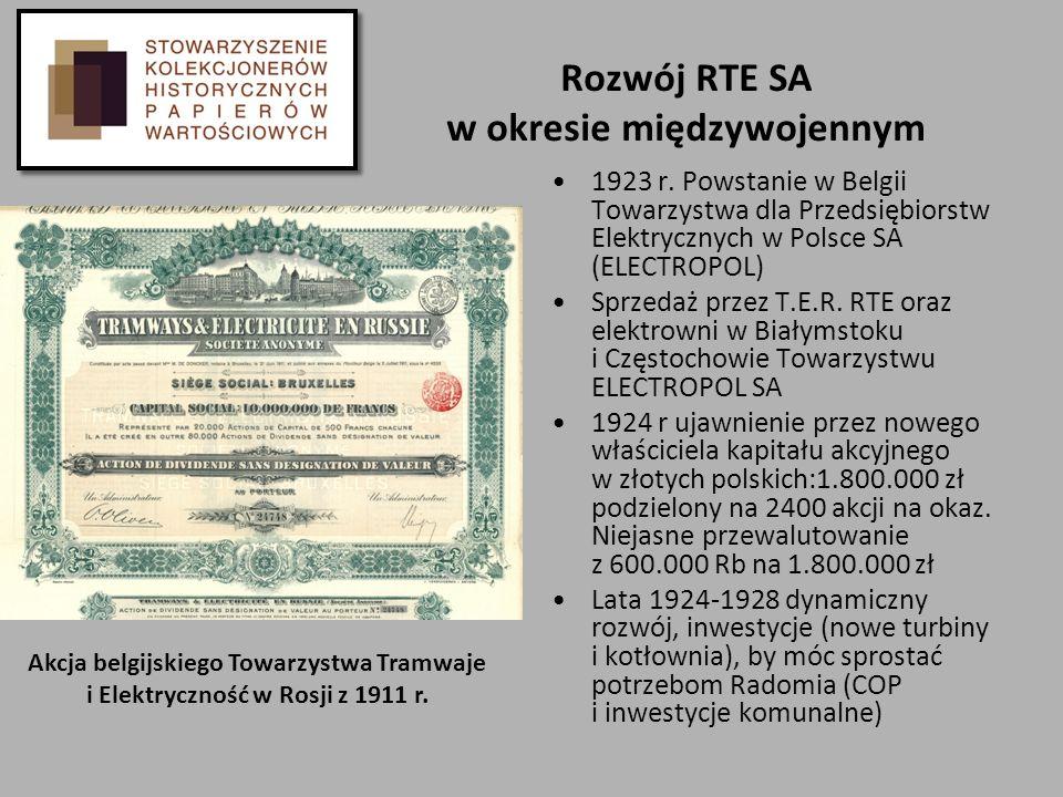 Rozwój RTE SA w okresie międzywojennym 1923 r. Powstanie w Belgii Towarzystwa dla Przedsiębiorstw Elektrycznych w Polsce SA (ELECTROPOL) Sprzedaż prze