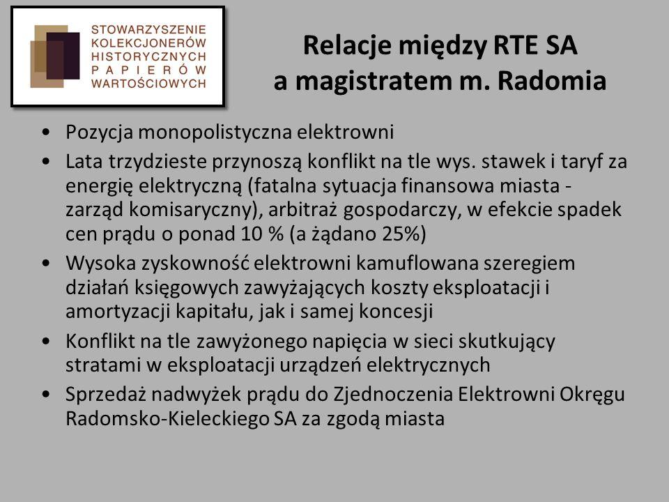 Relacje między RTE SA a magistratem m. Radomia Pozycja monopolistyczna elektrowni Lata trzydzieste przynoszą konflikt na tle wys. stawek i taryf za en