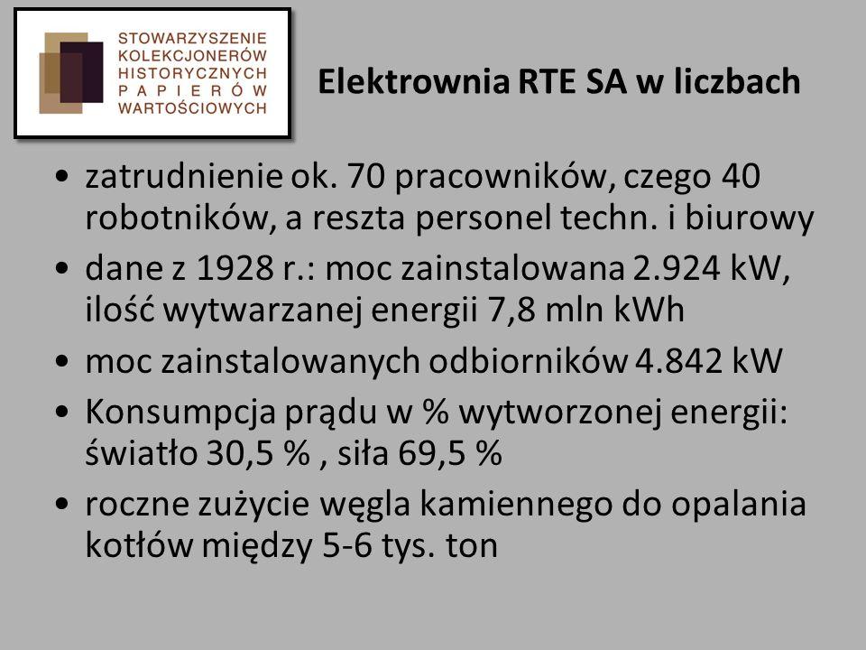 Elektrownia RTE SA w liczbach zatrudnienie ok. 70 pracowników, czego 40 robotników, a reszta personel techn. i biurowy dane z 1928 r.: moc zainstalowa